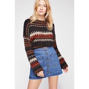 Free People We The Free Don't Get Me Wrong Denim Button Front Mini Skirt 27